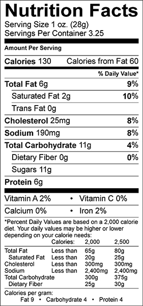 Charqs Nutrition Facts